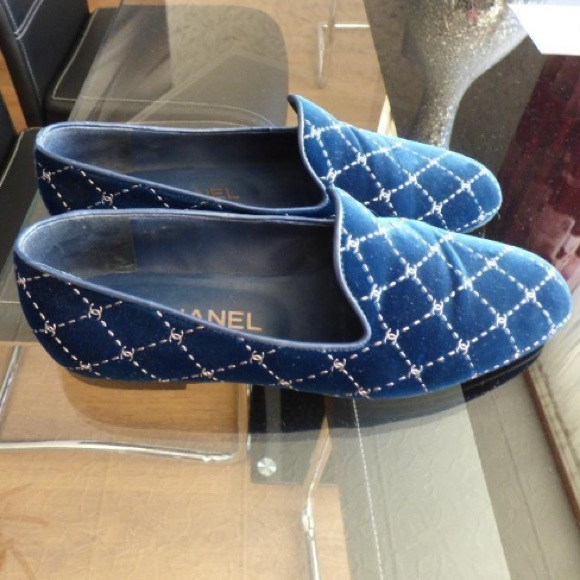 bf715ba08ea CHANEL Shoes - Chanel quilted velvet navy silver loafers